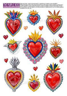 Mexican sacred Hearts Printable Sheet No. 2 For all your Mosaic Projects, Diy Projects, Computer Projects, Mexican Christmas, Heart Illustration, Wale, Glitter Art, Gift Labels, Earring Tutorial