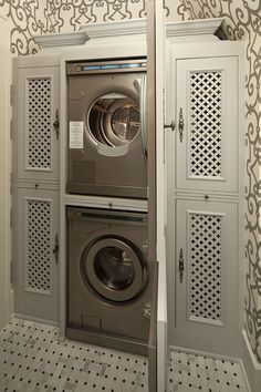 Laundry cabinet with perforated Quatrefoil panels...wonderful disguise!