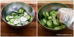 Sautéed Korean Cucumber Side Dish - Easy, simple, crunchy and delicious stir fried Korean cucumber salad. Korean Cucumber Side Dish, Stir Fry Cucumber, Korean Cucumber Salad, Cucumber Kimchi, Easy Korean Recipes, Asian Recipes, Asian Foods, Fried Cucumbers, Korean Vegetables