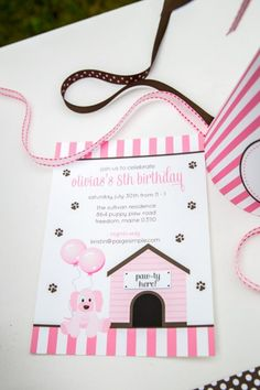 Pink Puppy Party Invitation Ideas