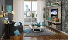sala decorada só com rack e sofá
