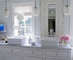 furniture lovely french sinks for bathroom using square vessel basin with single hole double handle faucet on white marble vanity top alongside swing arm wall mirror also small hanging crystal light