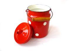 Vintage enamel Milk Can - Polka dot, Soviet enamelware, milk churn, vintage Soviet Milk Can, old milk can, Soviet vintage, Red Milk Can.  Red enameled cans in white peas, w... #housewares #kitchen