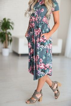 Moody Floral Midi Dress. Ordered this one yesterday. Can't wait to wear it on upcoming European holiday! #mindymaesmarket #dreamcloset
