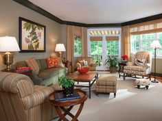 Looking for Traditional Living Space and Living Room ideas? Browse Traditional Living Space and Living Room images for decor, layout, furniture, and storage inspiration from HGTV. Living Room Paint, Living Room Decor, Living Spaces, Living Rooms, Patio House Ideas, Traditional Family Rooms, Traditional Ideas, Cozy Patio, Family Room Decorating