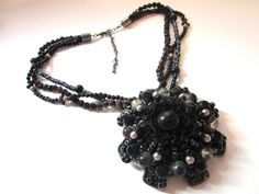 Colier vintage negru Crochet Necklace, Vintage, Jewelry, Fashion, Crystal, Moda, Jewlery, Jewerly, Fashion Styles