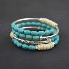 Turquoise & Ivory with Silver Tubes - Memory Wire Bracelet