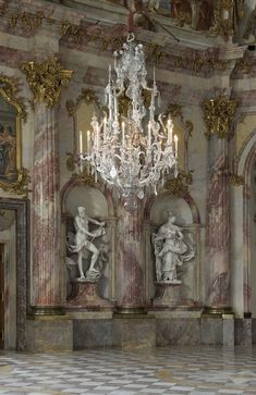 Imperial Room of the Würzburg ResidenceBavaria    Balthasar Neumann: architectural design , stucco decorations :Antonio Bossi, frescoes by Giovanni Battista Tiepolo created in 1751/52 with the help of his sons.