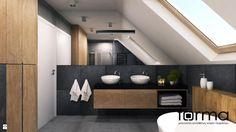 Aranżacje i wystrój wnętrz - styl Nowoczesny. Projekty, które stanowią prawdziwe inspiracje dla każdego, dla kogo liczy się dobry design i nieprzeciętne pomysły w projektowaniu i dekorowaniu stylowego wnętrza. Obejrzyj zdjęcia! Baby Bathroom, Bathroom Plans, Attic Bathroom, Bathroom Toilets, Small Bathroom, Master Bathroom, Attic Bedroom Designs, Closet Designs, Black Trim Exterior House