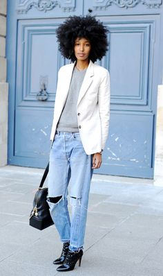 Julia Sarr-Jamois in a white blazer, grey sweater, ripped jeans & patent boots #style #fashion #streetstyle #hair