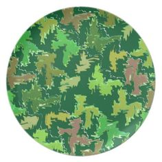 Green Theme : Military Camouflage Wave Pattern Plate