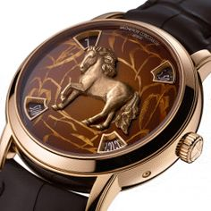 Vacheron Constantin Métiers d'Art: Year of the Horse Watches celebrate the Chinese zodiac calendar and are limited to 12 pieces in rose gold and platinum finishes. Old Watches, Swiss Army Watches, Fine Watches, Seiko Watches, Sport Watches, Horse Watch, Watch Master, Vacheron Constantin, Year Of The Horse