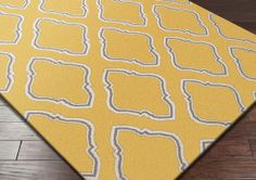 Yellow, white and grey reversible flat weave rug
