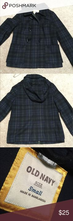 Plaid wool coat Plaid coat from old navy. In great condition. Only worn a few times. Recently dry cleaned and hasn't been worn since.  Size small Old Navy Jackets & Coats