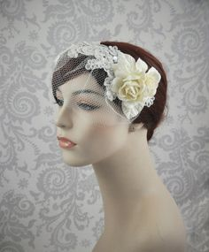Lace Bridal Headpiece with Small Veil, Birdcage Veil with Lace and Flowers, Detachable Birdcage Veil, Removable Veil. $78.00, via Etsy.