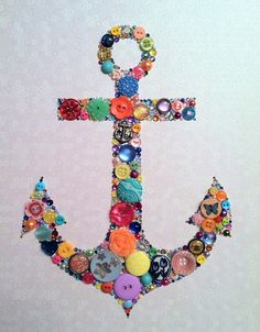 Anchor Art Button Art Swarovski Rhinestones Nautical Art. $74.00, via Etsy.