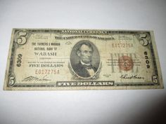 $5 1929 WABASH INDIANA IN NATIONAL CURRENCY BANK NOTE BILL CH. #6309 GOOD RARE