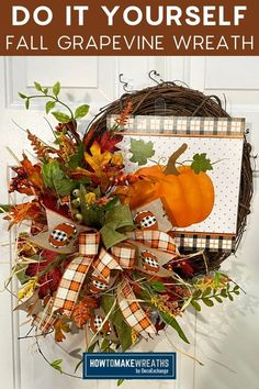 Love the autumn leaves and colors? This is a fun and simple tutorial on how to make the beautiful fall grapevine wreath for your front door!