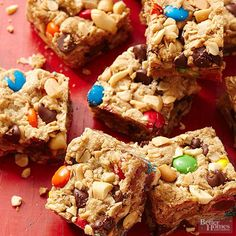 Monster bars are an easy treat to make for a child's birthday party, bring as dessert to a potluck, or to just keep around the house as an after school snack! You only need 5 ingredients and 15 minutes of prep time to make the peanut butter chocolate bars.