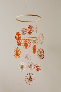 Snowflake Chandelier with BARC Wood Veneer Paper (12 x 12 inch birk BARC paper, lightest weight), also acrylic craft paint in desired colors, 12 inch and 9 inch wooden embroidery hoops, strings for hanging, and quick-setting gel glue.