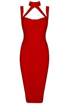 Honey Couture NINA Red Halter Bustier Bandage Dress