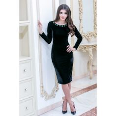 Rochia eleganta neagra midi din catifea pretioasa si cu aplicatie din pietre statement - o declaratie de eleganta si stil! Black, Dresses, Fashion, Vestidos, Moda, Black People, Fashion Styles, Dress, Fashion Illustrations