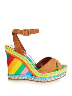 Rainbow-print espadrille wedge sandals