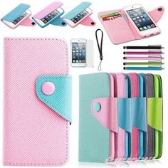 Flip PU Leather Credit Wallet Pouch Hard Case Cover For iPod Touch 5 5th Gen