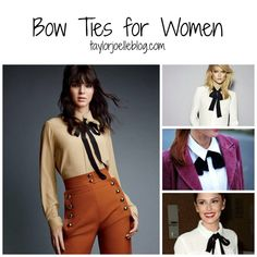 Who says bow ties are only for men? Women can wear bow ties too! Bow ties can give your look an extra polished touch. Try styling a bow tie with a collared shirt with a pencil skirt for your next p…