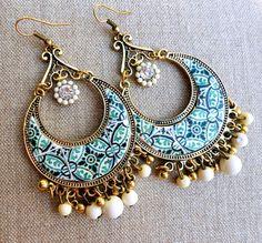 Portugal Antique Azulejo Tile Replica Chandelier Earrings by Atrio,