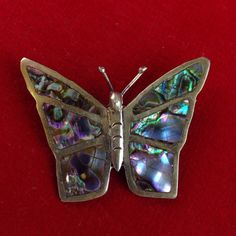 I'm auctioning 'Vintage Platinum Plated over Sterling Silver Mother of Pearl Butterfly Pin CB294' on #tophatter