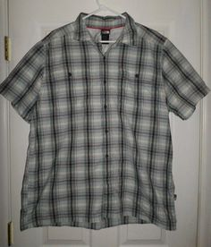 Men's Blue & Grey THE NORTH FACE Plaid Hiking Outdoor Button Shirt, Size XL, GUC #TheNorthFace #ButtonFront
