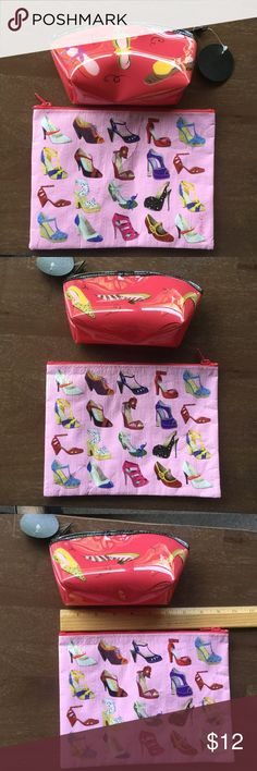Lot of two makeup cases for shoe lovers Both cases have top zipper closures with whimsical shoe print detail on both sides of cases Bags Cosmetic Bags & Cases
