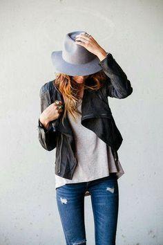 Leather jacket, tee shirt, blue jeans