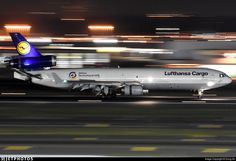 A Lufthansa Cargo freighter arriving at - by Dong An Mcdonnell Douglas Md 11, Cargo Aircraft, Cargo Airlines, Airline Tickets, Photo Online, Aviation, Jet, Ship, Vehicles