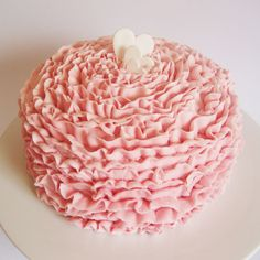 Pink Ruffle Cake by Miss Nattie