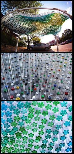 Colorful Parking Canopy Made of 1,500 Recycled Plastic Bottles By Garth Britzman