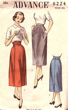 Advance Pattern 6224 Vintage 50s Slim Maternity Skirts - Front Panel Buttons in Back!