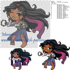 Exclusive cross stitch pattern March 2016 - Esmeralda chibi DOWNLOAD LINK HERE: http://forums.my-cross-stitch-patterns.com/exclusive-cross-stitch-pattern-march-2016-esmeralda-chibi-t501.html