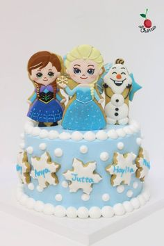 Cute Frozen Theme Cake Icing cookies decoration