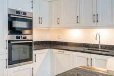 Painted Cream Shaker kitchen with Blue Pearl Granite Granite Kitchen, Granite Countertops, Kitchen Cabinets, Kitchen Upgrades, Kitchen Ideas, Cream Shaker Kitchen, Blue Pearl Granite, Condo Decorating, Family Kitchen