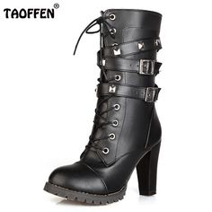 259166ebb31e5b TAOFFEN Ladies shoes Women boots High heels Platform Buckle Zipper Rivets  Sapatos femininos Lace up Leather boots Size 34 43-in Mid-Calf Boots from  Shoes on ...