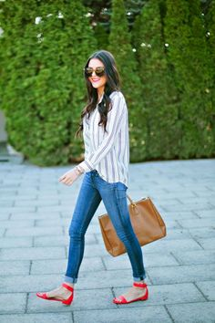 Gray stripes white check skirt and casual blue stylish plan jeans and brown leather hand bag and red stylish cute pumps