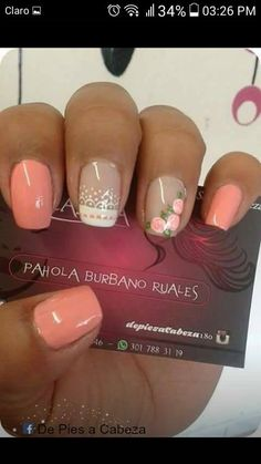 Sencillas Nails – Images – Hair, Nails, Skin – Tips, Tricks and Hacks Peach Colored Nails, Purple Nail Art, Orange Nails, Feet Nails, My Nails, Oval Nails, Beautiful Nail Art, Cool Nail Art, Simple Nails