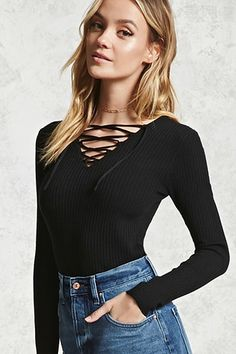 Ribbed Lace-Up Knit Top
