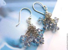 Серьги с топазами серебро 925 - голубой,серьги,серьги ручной работы,серьги с камнями