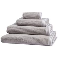 These looped pile towels feature a smart stripe that's sculpted into the surface. Made from woven cotton, they will feel soft and cosy against your skin.