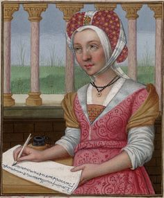 """Oenone, with a grassy lawn visible behind her -- Huntington Library Ms HM 60, f°23v """"Les XXI Epistres des Dames illustres traduicttes d'Ovide par le Reverend Pere en Dieu Monseigneur l'Evesque de Angoulesme"""" -- Translated by Octavien de Saint Gelais, written in France at the turn of the fifteenth century"""
