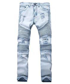 689a5efd Men Hiphop Pants Skinny Runway Distressed Slim Denim Biker Jeans - Blue -  C312O565P4N #outdoor