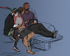 """72stars:  """"finally had enough energy and focus to try to draw something, multiple failed attempts at assorted ideas later stays up too late drawing Gabe reading something on his tablet while his son and subordinate snooze piled up on the couch with..."""